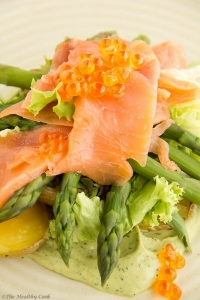 Salmon Salad with Asparagus & Avocado Dressing @The Healthy Cook