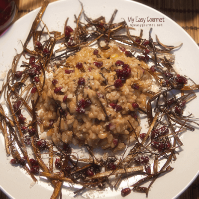 Crispy Leek Risotto with Pine Nuts & Pomegranate @My Easy Gourmet