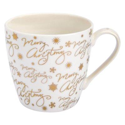 Ivory & gold Christmas mug | Jumbo